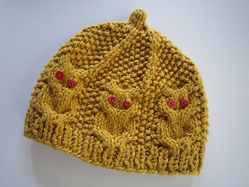 Hand Knit Baby Hat With Owl Cables And Button Eyes My Roman Apartment